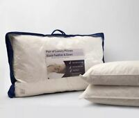 Luxury Duck Feather and Down Pillow Pair Standard Size Soft Cotton Cover