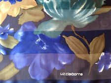 DESIGNER LIZ CLAIBORNE VINTAGE FLORAL SILK SCARF.  35 x 34 INCHES.  BEAUTIFUL!
