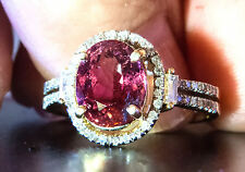 14K YG Pretty Pink PINK Tourmaline and Diamond Ring - Size 7.5, 4.19 grams