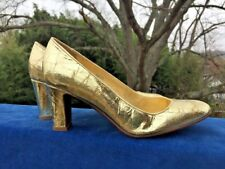 J CREW Weathered Look GOLD LAMAY Shiny Pumps High Heels LEATHER Shoes Women Sz 8