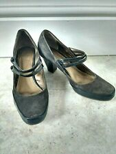 Clarks Court Shoes Size UK 6 Dark Green Leather Suede 2.5 Inch Heel Two Straps