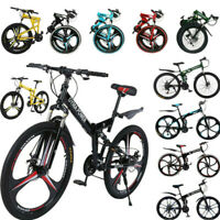 "26"" Folding Mountain Bike/Full Suspension 21 Speed Bicycle Disc Brakes MTB Gifts"