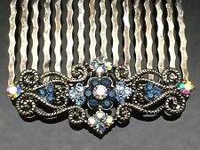 Blue Diamante Vintage Formal Bridal Wedding Crystal Hair Comb Clip 5.2cm Quality