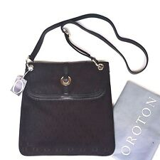 New RRP$395 Oroton Bag Large Across Crossbody O Handbag Black Leather Canvas s