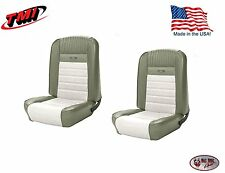 Deluxe PONY Seat Upholstery  Ford Mustang, Front Bucket Seats - Ivy Gold & White