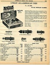 1960 Print Ad of Lyman All-American Pistol Reloading Dies