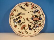 Antique Plate Gien French Faience Handpainted Bird Butterfly Cornucopia  c1875