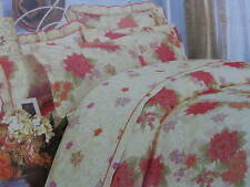 Cotton Queen Size Peach&Cream Floral Comforter Cover Sheet Set Red Orange Lilac