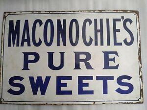 VINTAGE ORIGINAL MACONOCHIES PURE SWEETS FALKIRK IRON CO LONDON ENAMEL SIGN 1920