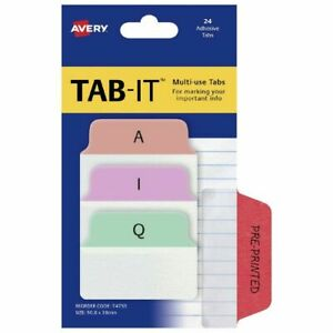 Avery TAB-IT A-Z Page Markers 50 x 38mm Pastel 24 Pack - PAGE MARKERS 74755