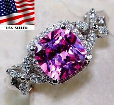 1CT Pink Sapphire & White Topaz 925 Sterling Silver Ring Jewelry Sz 6