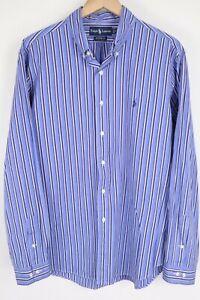 Ralph Lauren Mens sz XL Blue White Striped Custom Fit Long Sleeve Shirt