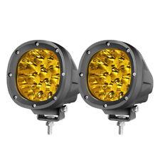 "2x 4"" LED Round Driving Combo Lights Amber Work Pods Fog Off Road 4WD 12V 3500K"