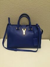 (SOLD)NEW Auth YSL Yves Saint Laurent Bag Mini Y Ligne Chyc Cabas Blue Majorelle