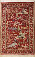 Rugstc 3x5 Senneh Pak Persian Red Rug, Hand-Knotted,Pictorial Hunting,Silk/Wool