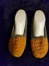 Crochet Slippers House Shoes Handmade Dusty Blue Tan Size 7 - 9 Slip On New