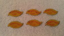 Lot of 6 Vintage Penn's Natural Leaf Yellow Metal Tobacco Tags