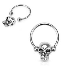 2 Pack Skull Captive Bead Circular Rings Ear Septum Nose Nipple Piercing Jewelry