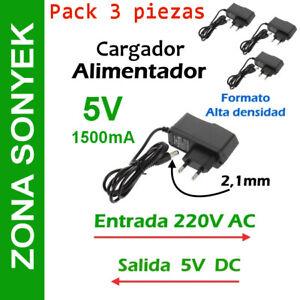 CARGADOR ALIMENTADOR 5V 1,5A (1500mA). PACK de 3 unidades. Entrega 24/48h*
