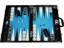 "Wycliffe Brothers 21"" Professional Backgammon Set, Black Croco Board, Blue Field"