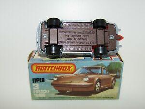 Matchbox Superfast No 3 Porsche Silver Red Interior BROWN BASE MIB HTF