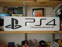"PlayStation 4 Display, Aluminum Sign, 6"" x 24"" PS4 Sony!!!"