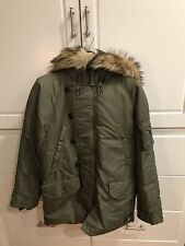 Mens Ralph Lauren Polo Winter Down Jacket Down Parka - Olive Green Large
