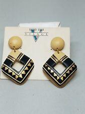 Black Beige Gold Tone Dangle Pierced Earrings New Old Stock Vintage