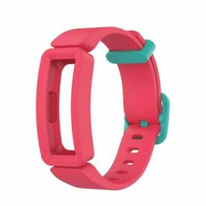 Soft Silicone Band Wristband For Fitbit Inspire HR/Inspire/Ace 2 Pink/Green Clip