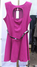 Lipsy BNWT UK 12 Fabulous Cerise Pink Sleeveless Open Back Short Dress with Belt