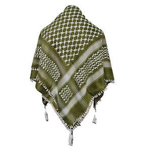 Shemagh Arab Head Scarf Wrap Arafat Keffiyeh Yashmagh Green +Fringes