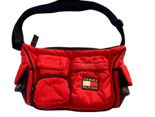 Tommy Hilfiger Red/Blue Padded 6-pocket Nylon Zip PURSE-GREAT COND