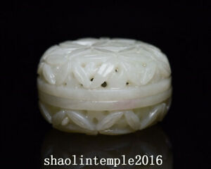 """2.2""""  Rare  China  antique  Nephrite  Hand carving  Hollowing out  Jade box"""