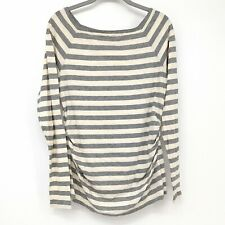 Gap Maternity Shirt Long Sleeve Top Square Neck Gray Cream Ivory White Stripe