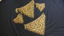 Belly Dance  Egyptian Beaded Fringes - Gold bead and Paillette V set