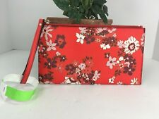 Michael Kors Wristlet Jet Set Travel Floral Leather Large Zip Bag Red B15