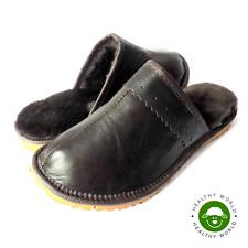 Luxury Women Leather Slippers Genuine SHEEPSKIN & CALFSKIN BROWN Flat Hard Sole