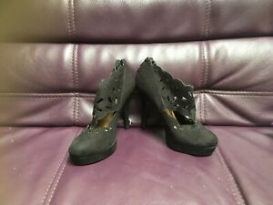 Women's New Look Black Platform High Heel faux suede Size 4 EUR 37 used once