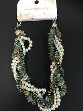 Fabulous Fashion Green  Pearl Bead Multi Colored Necklace