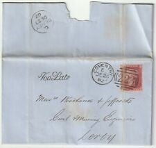 1862 COVENTRY TOO LATE LETTER THOMAS BROWETT RE COLLIERY >DERBY CIVIL ENGINEERS