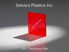 "1/4""  2283 Translucent Red Cell Cast Acrylic Sheet  12"" x 24"""