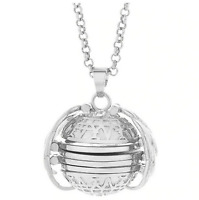 Expanding Photo Locket Necklace with Angel Wings - Antique Silver Colour