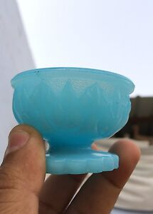 Vintage Blue Glass Yellowish Shade In Light Showing Bowl