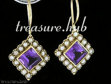 CE165 VINTAGE style GENUINE 9ct SOLID Gold Natural Amethyst & PEARL Earrings
