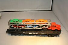 American Flyer 24566 NH Flatcar w/Auto Carrier Truck Load Free Shipping