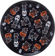 """Black Cats Skull Platter Dinner Porcelain Halloween Goth Sourpuss Home Decor 11"""""""