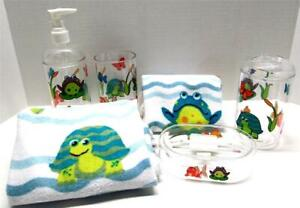 Kids Frog Bath Set RIBBIT 6 piece Acrylic Soap Dish Lotion Tumbler Tbrush Towels