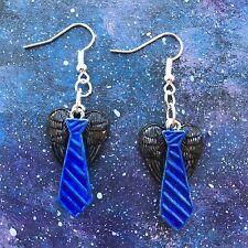 Castiel Tie & Wings Drop Earrings Supernatural SPN Misha Collins