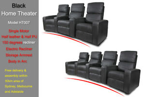 Electric Recliner Chair Sofa 3 Seater Armchair Bonded Leather Storage Arm In Arc