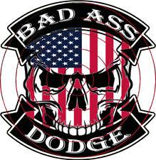 #59-SKULL BAD ASS DODGE 9,5x9 cm! AUTO AUFKLEBER AUTOCOLLANT CAR STICKER AUTO
